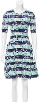 Kenzo Abstract Print Metallic-Trimmed Dress