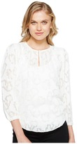 Rebecca Taylor Long Sleeve Satin Jacquard Top Women's Clothing