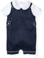 Ralph Lauren Buttoned Ramie Overalls w/ Pima Playsuit, Blue, Size 6-24 Months