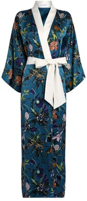 Olivia von Halle Queenie Floral Embroidery Silk Robe