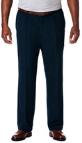 Haggar Big & Tall Cool 18 Pro - Classic Fit, Pleat Front, Hidden Expandable Waistband