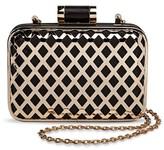 Tevolio Women's Metal Diamond Cut Out Clutch Handbag with Chain Strap Black/Gold