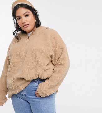 Daisy Street Plus oversized hoodie in teddy fleece