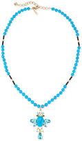 Oscar de la Renta Long Crystal Cross Pendant Necklace