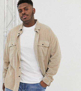 ASOS DESIGN Plus oversized cord shirt with double pockets in brown