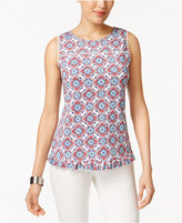 NY Collection Petite Printed Ruffle-Hem Top