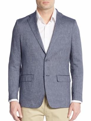 Michael Kors Ribbed Slub Linen & Cotton Blazer