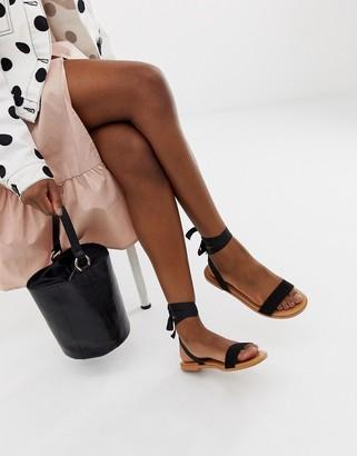 Asos Design DESIGN Flawless tie leg flat sandals-Black
