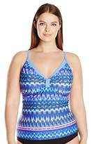 Free Country Women's Plus Size Island Ikat Sweet Heart Tankini Top