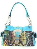 scarlettsbags Western Cowgirl Camouflage Rhinestone Buckle Canvas Camo Satchel Purse