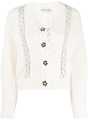 Self-Portrait Cable-Knit Crystal-Embellished Cardigan