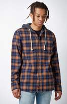 Vans Lopes Plaid Flannel Hooded Long Sleeve Button Up Shirt