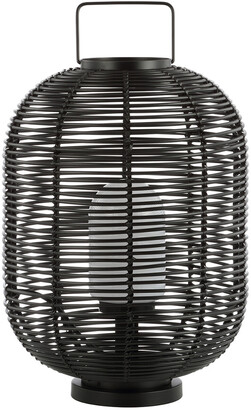 Jonathan Y Designs Kandella 26.7In Outdoor Woven Oval Asian Led Lantern