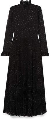 Philosophy di Lorenzo Serafini Studded Plisse-paneled Chiffon Gown - Black