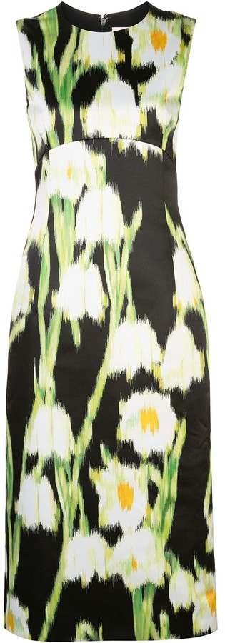 Carolina Herrera Floral Print Midi Dress