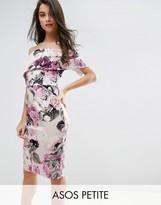 Asos Floral Deep Fold Bardot Midi Dress