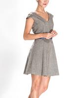 Amelia Brown Herringbone A-Line Dress