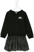Little Marc Jacobs 2 in 1 fleece and broderie anglaise dress