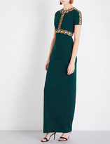Jenny Packham Cutout crystal-embellished crepe gown