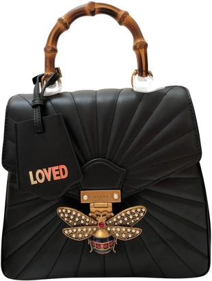 Gucci Queen Margaret Black Leather Backpacks