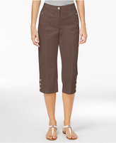 Karen Scott Petite Button-Hem Twill Capri Pants, Only at Macy's