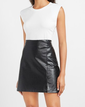 Express High Waisted Textured Vegan Leather A-Line Mini Skirt
