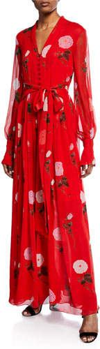 Oscar de la Renta Long-Sleeve V-Neck Floral Maxi Dress