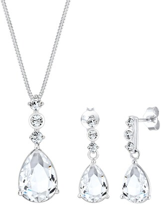 Elli PREMIUM Jewelry Set Set Classic Swarovski crystal 925 Sterling Silver