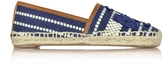Tory Burch Shaw Navy Sea and Royal Tan Cotton Espadrille
