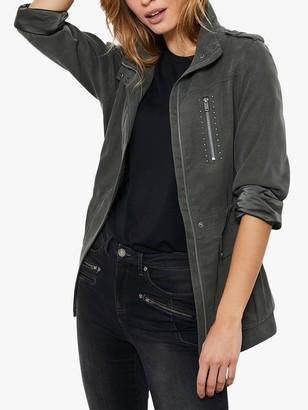 Mint Velvet Khaki Studded Jacket, Dark Green