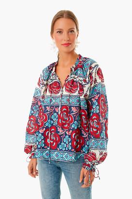 Warm Blue Multi Floral Tie Sleeve Blouse