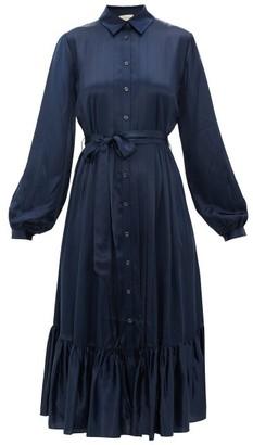 Temperley London Birdie Balloon-sleeve Satin Shirt Dress - Womens - Navy