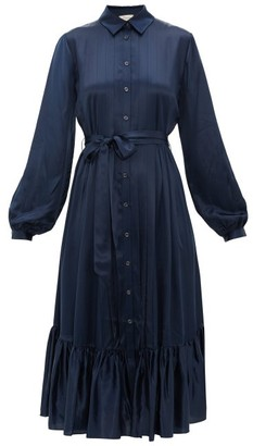 Temperley London Birdie Balloon-sleeve Satin Shirtdress - Womens - Navy