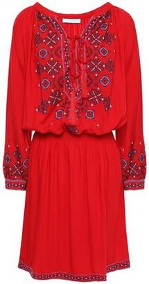 Melissa Odabash Nadja Gathered Embroidered Woven Mini Dress