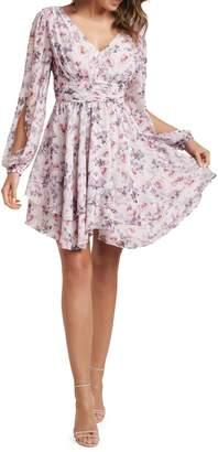 Ever New Taylor Floral-Print Split-Sleeve Skater Dress