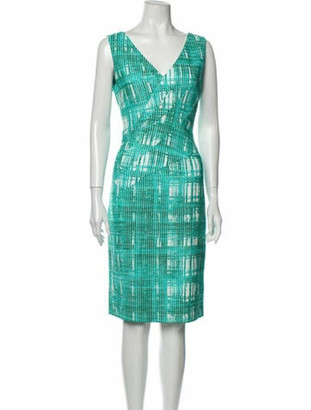Oscar de la Renta Printed Knee-Length Dress Green