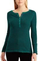 Chaps Women's Plaid Cotton Henley