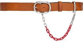 Rag & Bone Wingman Chain-trimmed Leather Belt