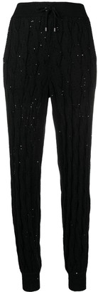 Brunello Cucinelli Sequin-Embellished Cable-Knit Joggers