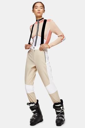 Topshop Stone and Ecru Colour Block Ski Trousers by SNO