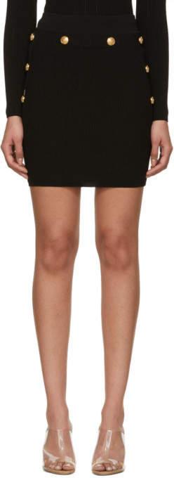 Balmain Black Knit Miniskirt