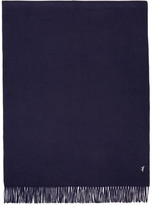 MAISON KITSUNÉ Navy Small Fox Wool Scarf