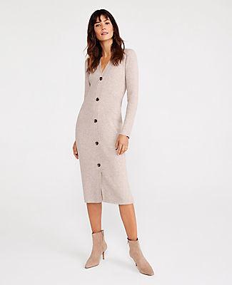 Ann Taylor Marled Button Sweater Dress