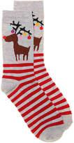 K. Bell Women's Reindeer Crew Socks -Grey
