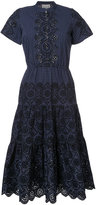 Sea English embroidery pinstriped dress