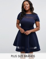 Club L Plus Office Skater Dress With Mesh Insert