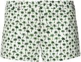 Milly palm print short shorts - women - Cotton/Spandex/Elastane - 2