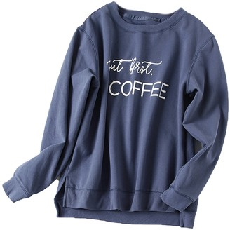 Goodnight Macaroon 'Ava' Crewneck 'But first, Coffee' Letter Sweatshirt