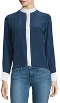 Frame Classic Two-Tone Silk Blouse, Navy