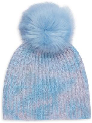 Jocelyn Faux Fur Pom-Pom Tie-Dye Beanie